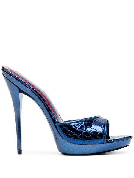 Открытые синие кожаные мюли на каблуке Maison Ernest