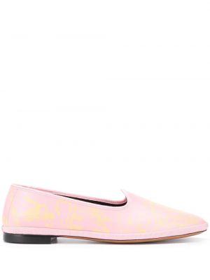 Кожаные розовые слиперы на низком каблуке без застежки Emilio Pucci