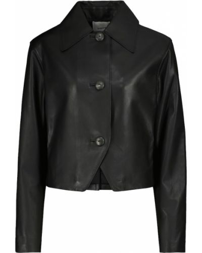 Черная кожаная куртка из натуральной кожи Vince