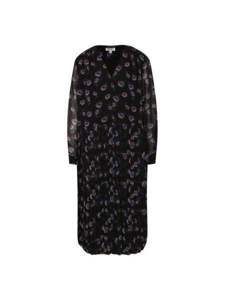 Платье с цветочным принтом черное Kenzo