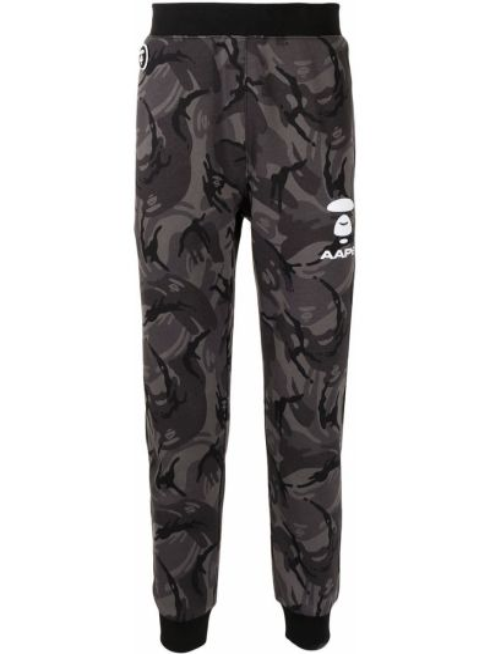 Хлопковые черные спортивные брюки с поясом Aape By A Bathing Ape