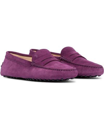 Фиолетовые замшевые лоферы Tods