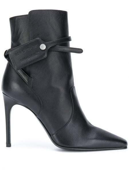 Czarny buty na pięcie na pięcie kwadratowy plac Off-white