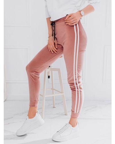 Różowe joggery materiałowe Edoti