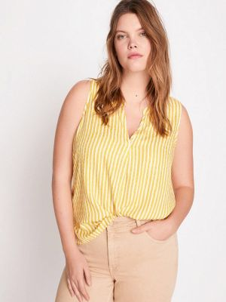 Блузка без рукавов весенний желтый Violeta By Mango