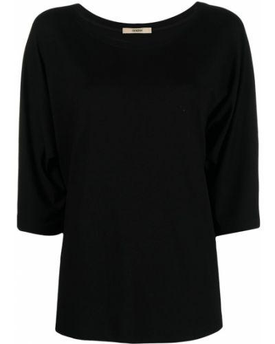 С рукавами черная футболка с вырезом Odeeh