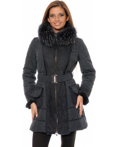 Синее шерстяное пальто с капюшоном Mor`a
