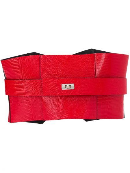 Кожаный красный ремень с пряжкой Manokhi