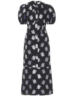 Ватное хлопковое черное платье миди Erdem