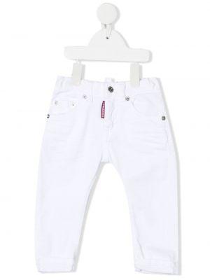 Прямые белые джинсы классические с карманами Dsquared2 Kids