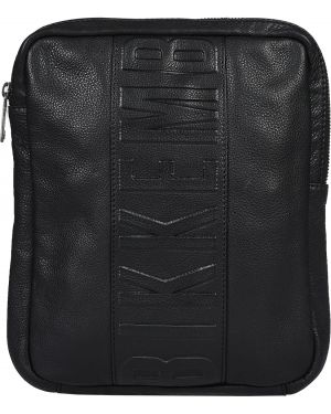 Черная текстильная кожаная сумка Bikkembergs