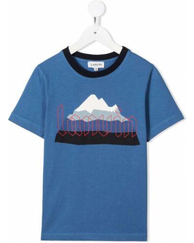 Хлопковая синяя футболка с короткими рукавами с круглым вырезом Lanvin Enfant