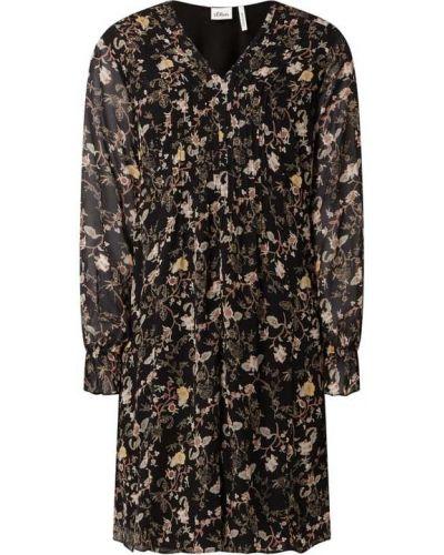 Sukienka rozkloszowana z długimi rękawami - czarna S.oliver Black Label