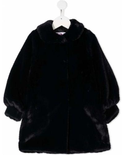 Черное длинное пальто оверсайз из искусственного меха Il Gufo