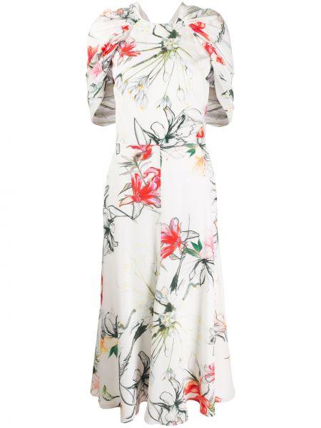 Платье с запахом с цветочным принтом Alexander Mcqueen
