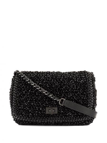 Черная сумка через плечо с перьями Anteprima