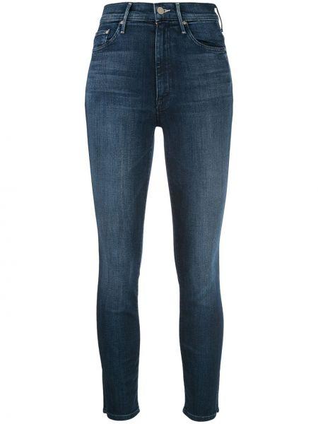 Укороченные джинсы синие на пуговицах Mother