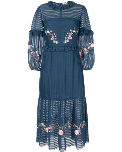 Платье миди шелковое с цветочным принтом Vilshenko
