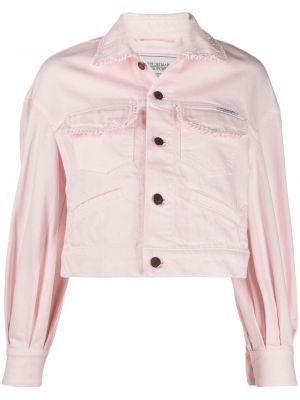 Różowa długa kurtka bawełniana z długimi rękawami Forte Dei Marmi Couture