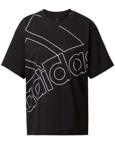 Czarny t-shirt bawełniany z printem Adidas Performance