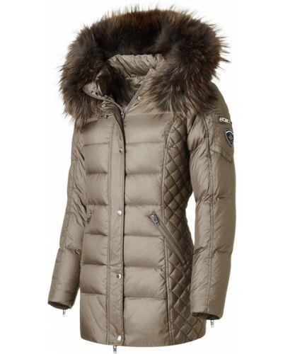 Beżowa kurtka pikowana z futerkiem Rockandblue