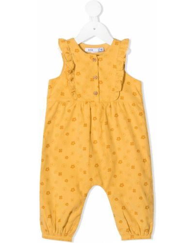 Хлопковый желтый комбинезон на пуговицах Knot