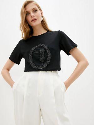 Черная футболка осенняя Trussardi