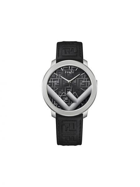 Czarny zegarek skórzany szafir Fendi