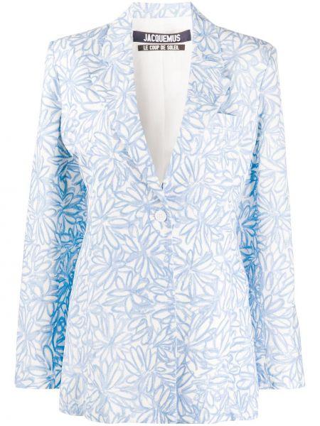 Приталенный синий пиджак с карманами Jacquemus