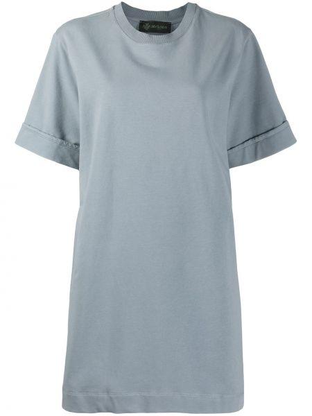 Серое платье мини с вышивкой оверсайз с короткими рукавами Mr & Mrs Italy