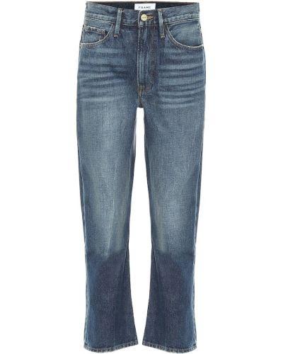 Ватные хлопковые синие укороченные джинсы Frame