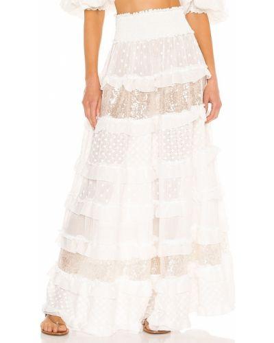 Biała spódnica srebrna z haftem Chio