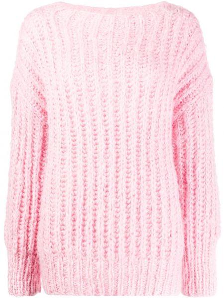 Шелковый розовый свитер со спущенными плечами с круглым вырезом Sminfinity