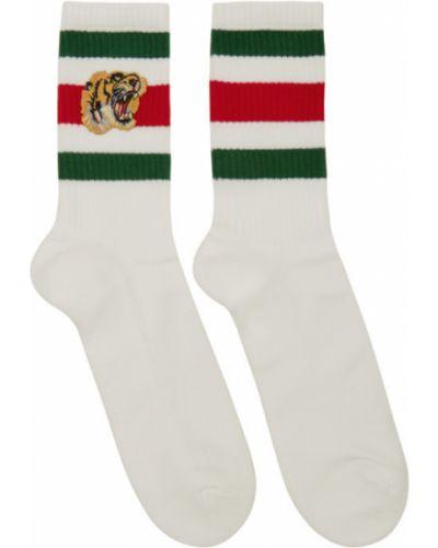 Bawełna biały wysoki skarpety rozciągać z haftem Gucci