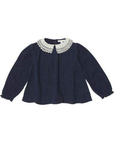 Школьная хлопковая синяя блузка с вышивкой Caramel
