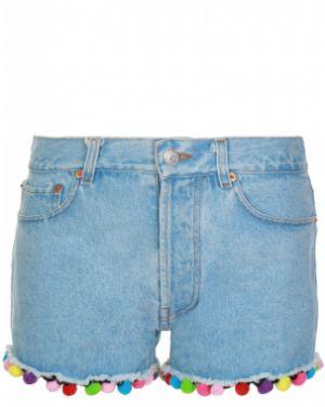 Джинсовые шорты на молнии - голубые Forte Couture