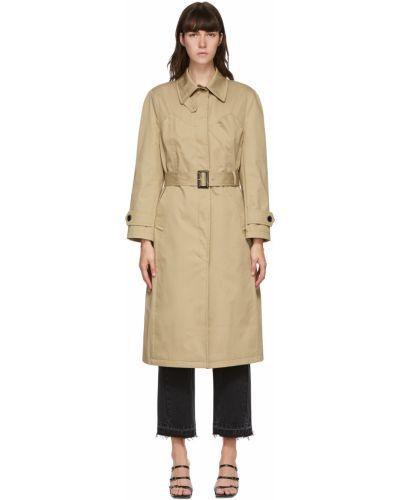 Beżowy długi płaszcz z paskiem z klamrą Pushbutton