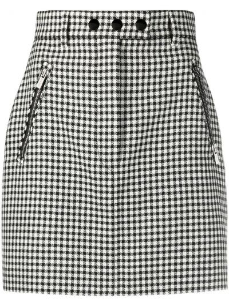 Wełniany z wysokim stanem czarny spódnica mini z kieszeniami Miu Miu