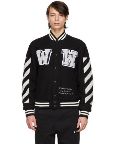 Z rękawami czarny długa kurtka z haftem z kołnierzem Off-white