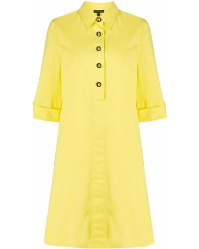 Желтое прямое платье миди на пуговицах с воротником Escada