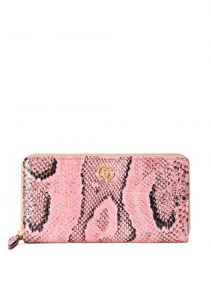 Czarny portfel skórzany z printem Gucci