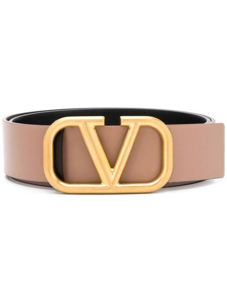 Золотистый кожаный ремень с пряжкой Valentino