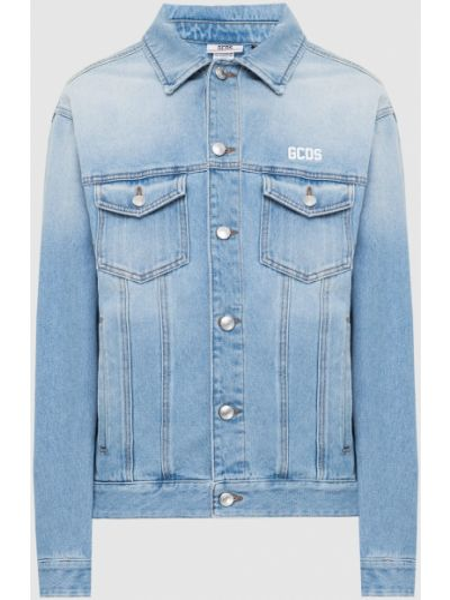 Джинсовая куртка с аппликацией - голубая Gcds