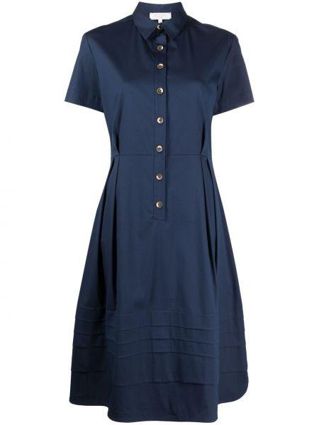 Плиссированное синее платье мини с воротником Antonelli