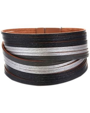 Кожаный браслет серебряный Evora