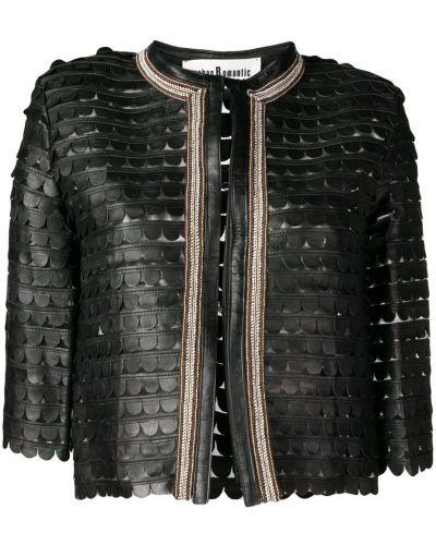 Куртка черная с вышивкой Caban Romantic