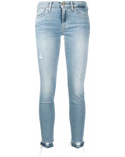Хлопковые синие укороченные джинсы на пуговицах 7 For All Mankind