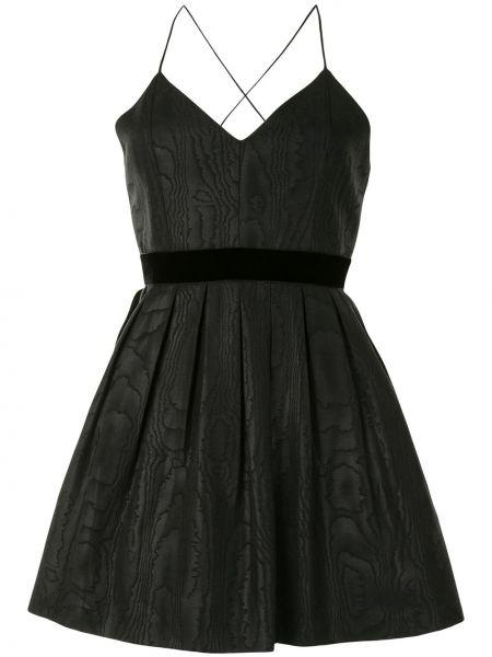 Черное бархатное расклешенное платье мини с вырезом Alice+olivia