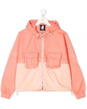 С рукавами оранжевая куртка с капюшоном на молнии Cinzia Araia Kids