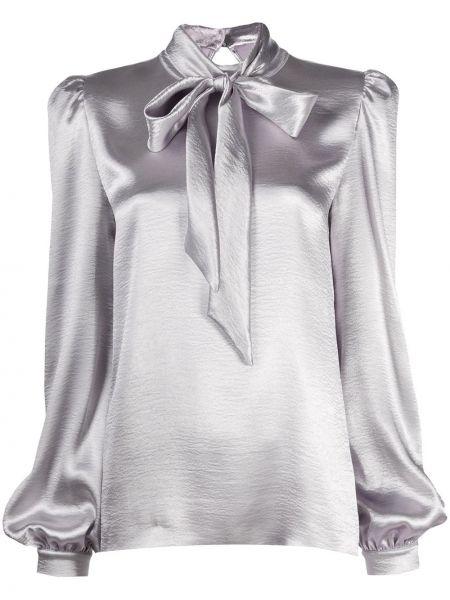 Серебряная блузка с воротником с бантом с завязками Philosophy Di Lorenzo Serafini